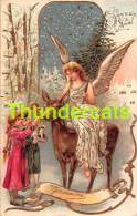CPA EN RELIEF GAUFREE ANGE  BONNE ANNEE EMBOSSED NEW YEAR CARD ANGEL GUARDIEN  DOLL POUPEE - Anges