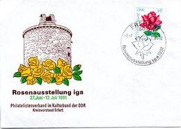 "(DDR-B1) Sonder-Umschlag ""Rosenausstellung Iga 1981"" EF Mi 1780 SSt. 2.7.81 ERFURT 1 - [6] République Démocratique"
