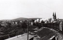 Photo Originale Passage D'un Train à Vapeur Dans Un Village à Identifier - Toits, Clochers Et Jardins - Trains