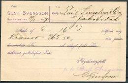 1907 Sweden Gust. Svensson Postcard - Jakobstad Finland. - Sweden