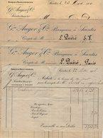 VP12.247 - SAINTES 1906 - 4 Documents Concernant La Banque AUGER & Cie Banquiers à SAINTES - Bank & Insurance