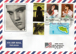 Lettre De Petit St Vincent (Caraïbes) Caribbean. Hommage à Elvis Presley, Sur Lettre Adressée Aux Etats-Unis - Elvis Presley
