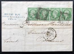 France Napoléon III N°12Cc Bande 4 Sur Lettre De Paris Bureau J Pour Orléans - 1853-1860 Napoleon III