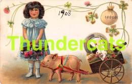 CPA EN RELIEF GAUFREE FILLE COCHON EMBOSSED CARD GIRL PIG - Cochons