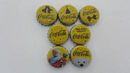 MEXICO - 7 BOTTLE CAPS - COCA COLA - CHRISTMAS 2014  - FULL SET - Soda