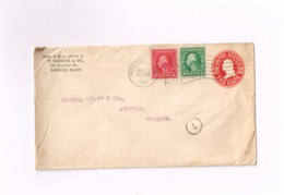 Entier Postal à 2 Cents.Expédié De Boston à Antwerpen (Belgique) - Entiers Postaux