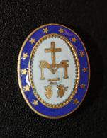 """Broche Ancienne émaillée """"Médaille Miraculeuse"""" Religious Brooch - Religion & Esotérisme"""