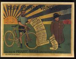 AFFICHETTE DEUX GRANDS VAINQUEURS 1908 CYCLES PEUGEOT 17,5x13,5 - Afiches