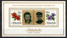 AITUTAKI - 1973 - Wedding Of Princess Anne And Capt. Mark Phillips - SOUVENIR SHEET - NUOVI MNH - Aitutaki
