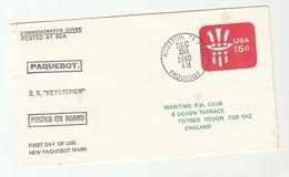 1980 FIRST DAY Of Use PAQUEBOT Postmark COVER 'Houston TX 77201 Paquebot' USA  Ship SS Keystoner  Postal Stationery - Schiffe