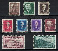 Albania 1945 _ Postage Stamps Of 1939-1940 / Overprinted 22-X-1944 - Local Motifs & King Victor Emmanuel III  MNH* - Albania