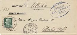 Altilia. 1937. Annullo Guller ALTILIA (COSENZA) + Ovale IL PODESTA' ....su Lettera Senza Testo - Marcofilía
