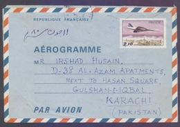 FRANCE Postal History, 2.10 Franc Stationery Aerogramme Aeroplane, Used 1980 - Enteros Postales