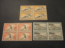 CECOSLOVACCHIA - 1960 GIOCHI DI ROMA 3 VALORI, In Quartine(blocks Of Four) - NUOVI (++) - Tschechoslowakei/CSSR