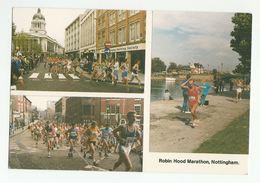 'ROBIN HOOD MARATHON' Nottingham Postcard  ATHLETES RUNNING THROUGH NOTTINGHAM Sport Athletics Gb - Athletics