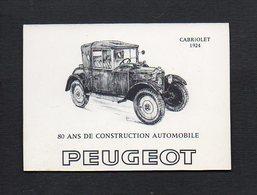 """1971 Calendrier De Poche """" 80 Ans De Construction Automobile """" Peugeot Cabriolet 1924 / Transports - Calendars"""