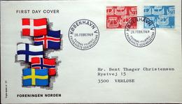 Denmark 1969 Cz.Slania  NORDEN FDC MiNr.475-76 Viking Ships/ Wikingerschiffe ( Lot Ks )FOGHS COVER  Drapeau/Flag - FDC