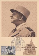 Carte  Maximum   1er   Jour   FRANCE    Maréchal  DE  LATTRE  DE  TASSIGNY       RHIN  ET  DANUBE    PARIS   1954 - Cartes-Maximum