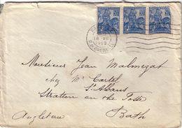PARIS - 1929 - N°257 - JEANNE D'ARC BANDE DE 3 - LETTRE POUR BATH ANGLETERRE - AFFRANCHISSEMENT A 1F50 - 1 TIMBRE DEFECT - Postmark Collection (Covers)