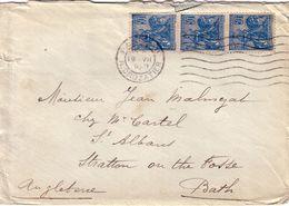 PARIS - 19-7-1929 - N°257 - JEANNE D'ARC BANDE DE 3 - LETTRE POUR BATH ANGLETERRE - AFFRANCHISSEMENT A 1F50. - Postmark Collection (Covers)