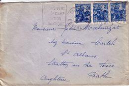 CANTAL - VIC SUR CERE - DAGUIN DE 1929 - N°257 - JEANNE D'ARC BANDE DE 3 - LETTRE POUR BATH ANGLETERRE. - Postmark Collection (Covers)