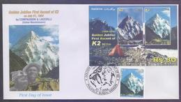PAKISTAN 2004 FDC - Golden Jubilee First Ascent Of K2 Mountains K-2, Miniature Sheet + Stamp On First Day Cover - Pakistan