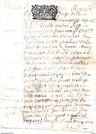 Fiscal, Généralité De MOULINS Sur Parchemin (Peau) Double Feuille, Tacquenot Gabriel, époux D' Eléonore De La Celle 1702 - Cachets Généralité
