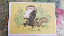 THANK YOU, BEAR! By Golubev  - USSR Postcard 1967 Mushroom Champignon - Champignons