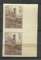 Estland Estonia 1941 Dt. Okkupation Tallinn Reval Wiederaufbau Michel 4 U Als Paar Vom Bogenrand MNH - Occupation 1938-45