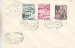 Yougoslavie - Lettre FDC De 1953 - Oblit Zagreb - Chutes D'eau - Marechal Tito - Valeur 60 Euros - 1945-1992 Repubblica Socialista Federale Di Jugoslavia