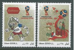Lebanon NEW 2018 Complete Set 2v. MNH - Football FIFA World Cup Russia, Wolf Zabivaka Mascot & Kremlin Palace - World Cup