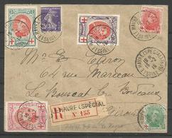 1915 - CROIX-ROUGE - COB N° 132 à 134 Oblitérés Sur Lettre RECOMMANDEE - 1914-1915 Croix-Rouge