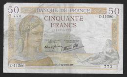 50 Fr  Cérès  Du  7 - 12 - 1939 - 50 F 1934-1940 ''Cérès''