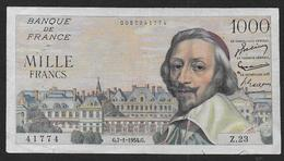 1000 Fr  Richelieu  Du  7 - 1 - 1954 - 1871-1952 Anciens Francs Circulés Au XXème