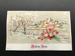 536 - MEILLEURS VOEUX Village Enneigé & Bouquet De Fleurs - 1967 - Neujahr