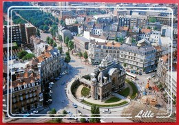 Cpm 59 LILLE  Vue Aerienne Porte De Paris Et Hotel De Ville Beffroi Blason - Lille