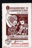 75(IVe), Carte Commerciale: Imprimerie Commerciale CH. Mitton, 25 Rue Simon Lefranc, Guenivet Successeur - Visiting Cards