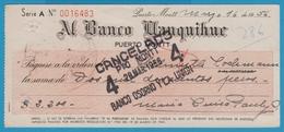 CHILI PUERTO MONTT CHEQUE AL BANCO LLANQUIHUE 1956 - Chèques & Chèques De Voyage