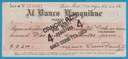 CHILI PUERTO MONTT CHEQUE AL BANCO LLANQUIHUE 1956 - Cheques & Traveler's Cheques