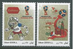 Lebanon NEW 2018 Complete Set 2v. MNH - Football FIFA World Cup Russia, Wolf Zabivaka Mascot & Kremlin Palace - Lebanon