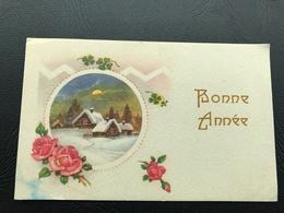 BONNE ANNEE Village Enneigé Encadré Roses - Neujahr