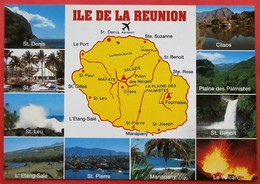 Cpm ILE DE LA REUNION  Carte Geographique  Multivues - La Réunion