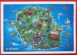 Cpm ILE DE LA REUNION  Carte Geographique - La Réunion