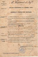 VP12.250 - MILITARIA - PAU 1883 - Certificat D'Instruction Militaire Caporal QUERE Au 18 ème Régiment D'Infanterie - Documents