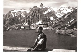 "Italie-(Val D'Aoste)-Suisse-Valais-1955-Gran San Bernardo-Il Lago-Grand Saint Bernard-cachet ""Albergo Italia*B.Brunod"" - Italy"