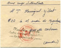 """FRANCE LETTRE AVEC CACHET """"FRANCHISE POSTALE CENTRE NATIONAL D'INFORMATION SUR LES PRISONNIERS DE GUERRE"""" .............. - Storia Postale"""