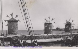Grèce - Greece - Rhodes - Rodi - Carte-Photo - Moulins à Vent - Wind Mills - Port Bâteaux - Greece