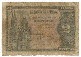 Spain 2 Pesetas 1938, Burgos, Used, See Scan. Rare. - Spain