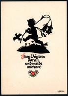 B4655 - Plischke Glückwunschkarte - Engel Angel - Scherenschnitt - Zittau - Scherenschnitt - Silhouette