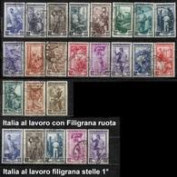 # 1950 / 1955 Francobolli Italia Al Lavoro Filigrana Ruota E Stelle - 6. 1946-.. Repubblica